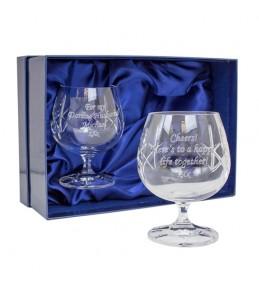 Pair of Personalised Crystal Brandy Glasses