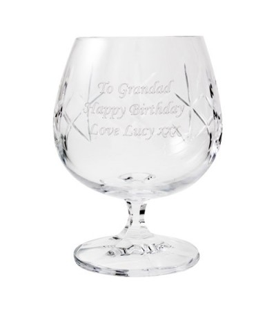Engraved Small Crystal Brandy Glass