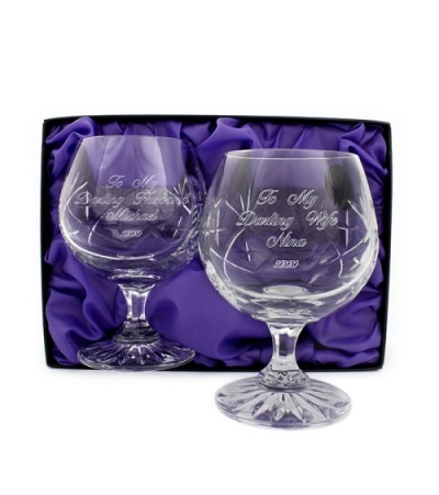 Pair of Personalised Lead Crystal Brandy Glasses