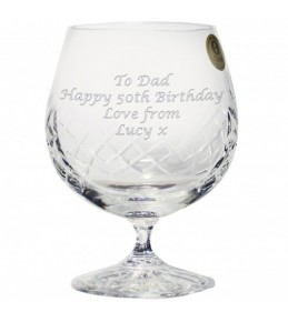 Engraved Large Crystal Brandy Glass