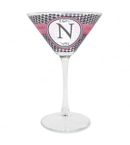 Personalised Houndstooth Cocktail Glass