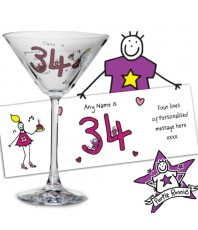 Personalised Purple Ronnie Cocktail Glass - Middle Age Female