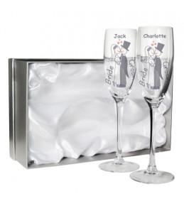 Personalised Cartoon Couple Flute Glasses