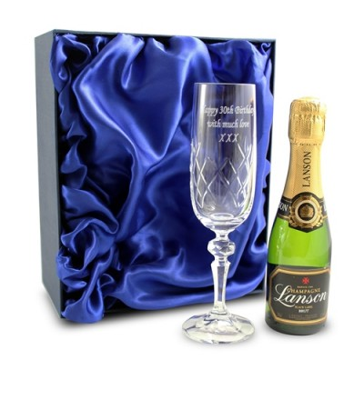 Personalised Crystal Champagne Glass & Miniature Champagne