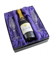Personalised Pair of Crystal Flutes & Champagne