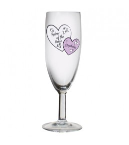 Personalised Butterfly Hearts Wedding Flute Glass