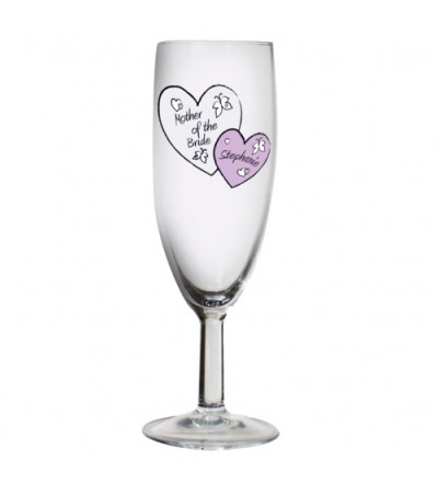 Personalised Hearts Wedding Flute Glass