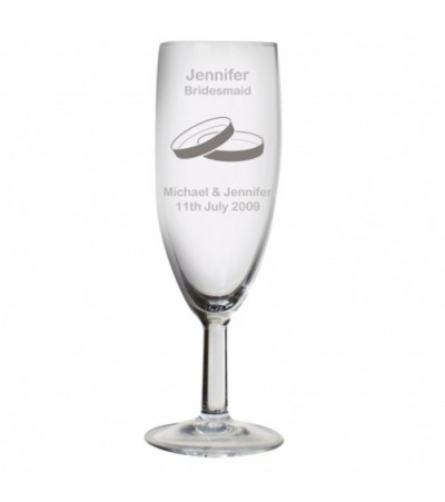 Personalised Rings Wedding Flute Glass