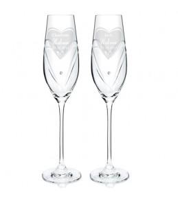 Personalised Heart Swarovski Champagne Glasses