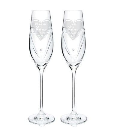 Personalised Heart Swarovski Champagne Glasses