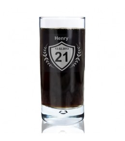 Personalised Age Crest Hi Ball Bubble Glass