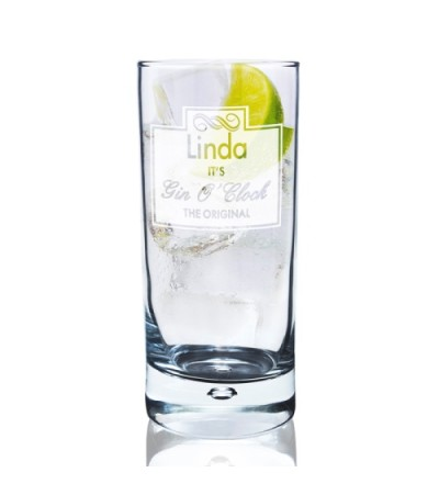 Personalised Gin O'Clock Hi Ball Glass
