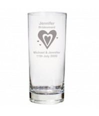 Personalised Hearts Wedding Hi Ball Glass