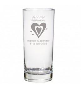Personalised Hearts Wedding Hi Ball Glass