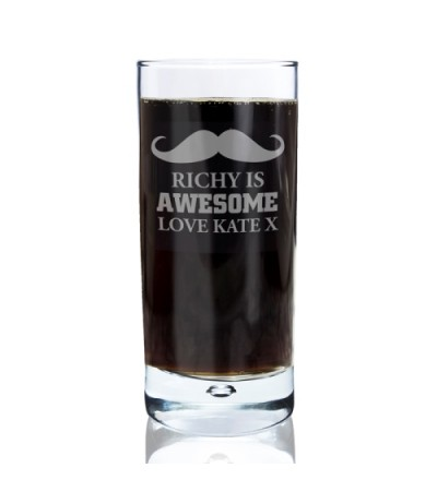 Personalised Moustache Hi Ball Bubble Glass