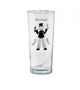 Personalised Cartoon Wedding Pilsner Glass