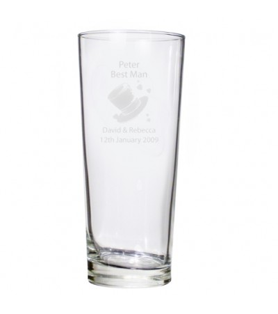 Personalised Hats Wedding Pilsner Glass