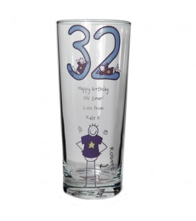 Personalised Purple Ronnie Pilsner Glass - Middle Age Male