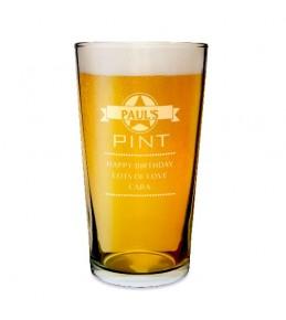 Personalised Diamond Pint Glass