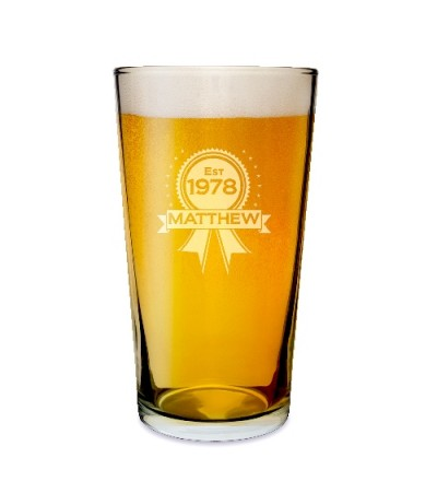 Personalised Rosette Pint Glass