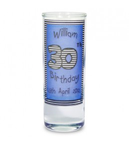 Personalised Blue Happy Birthday Shot Glass