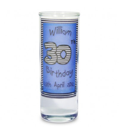 Personalised Blue Happy Birthday Shot Glass