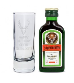 Stag Shot Glass and Miniture Jagermeister