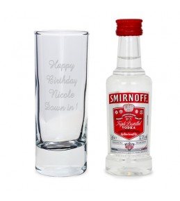 Personalised Text Shot Glass and Miniature Smirnoff Vodka