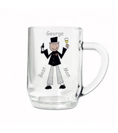 Personalised Cartoon Wedding Tankard Glass