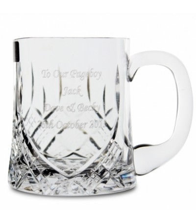 Engraved Half Pint Crystal Tankard