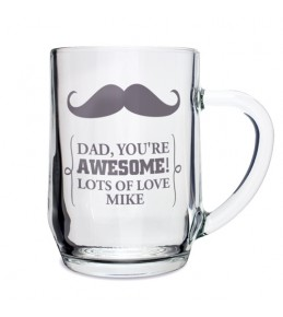 Personalised Moustache Tankard Glass