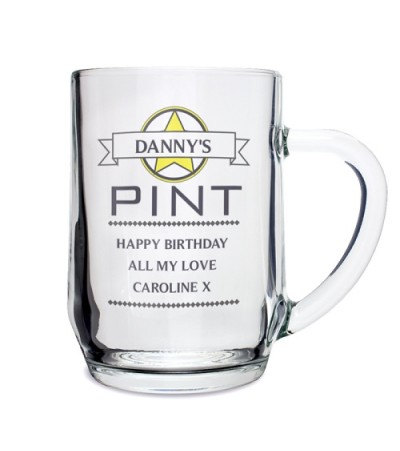 Personalised Diamond Glass Tankard