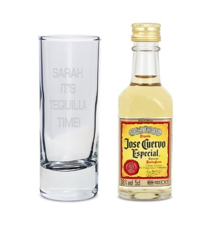 Personalised Text Shot Glass and Miniature Tequila