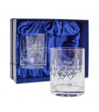 Pair of Engraved Crystal Whisky Glasses