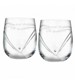 Personalised Swarovski Heart Diamante Tumbler Glasses