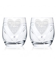 Personalised Swarovski Big Heart Diamante Tumbler Glasses