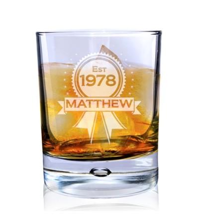 Personalised Rosette Whisky Glass