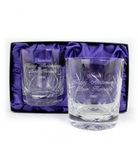 Pair of Engraved Lead Crystal Whisky Glasses