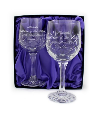 Pair of Personalised Crystal Wine Glasses