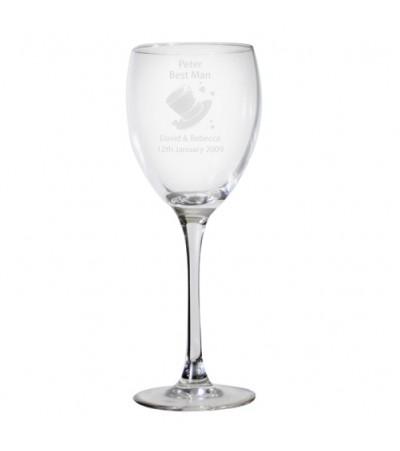 Personalised Hats Wedding Wine Glass