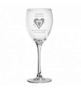 Personalised Hearts Wedding Wine Glass