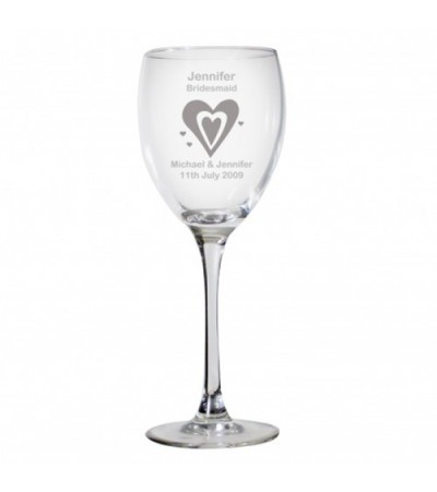 Personalised Hearts Wedding Wine Glass