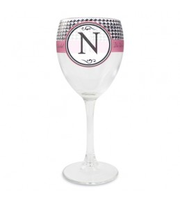Personalised Houndstooth Wine Glass