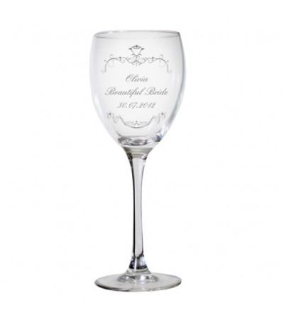 Personalised Ornate Swirls Wine Glass