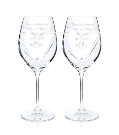 Personalised Small Hearts Swarovski Wine Glasses