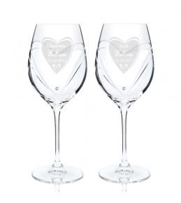 Personalised Heart Swarovski Wine Glasses