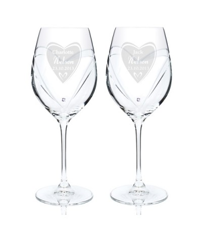 Personalised Heart Swarovski Wine Glasses